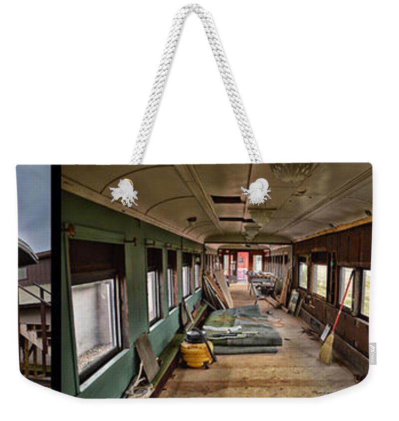 C&e Il Weekender Tote Bag featuring the photograph Chicago Eastern Il Rr Car Restoration With Blue Print by Thomas Woolworth