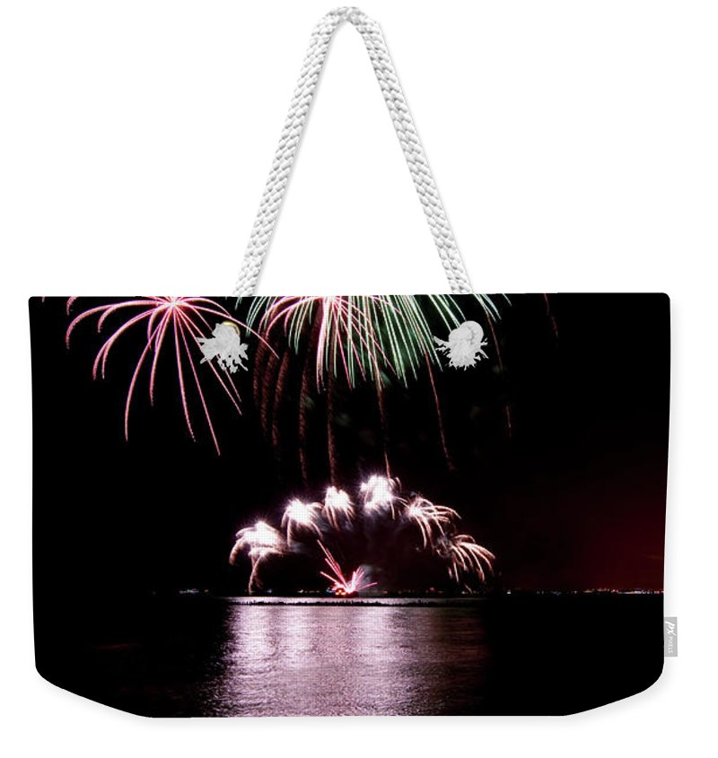 Lake Michigan Weekender Tote Bag featuring the photograph Chicago Fireworks by 400tmax