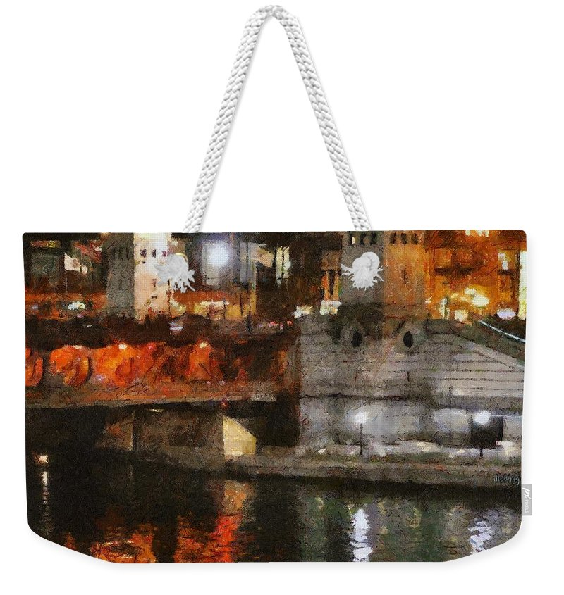 Bridge Weekender Tote Bag featuring the painting Chicago River At Michigan Avenue by Jeffrey Kolker