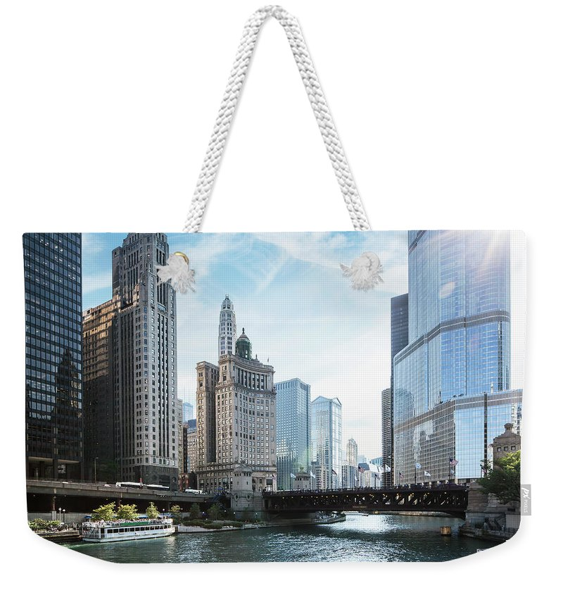 Wake Weekender Tote Bag featuring the photograph Chicago River by Bjarte Rettedal