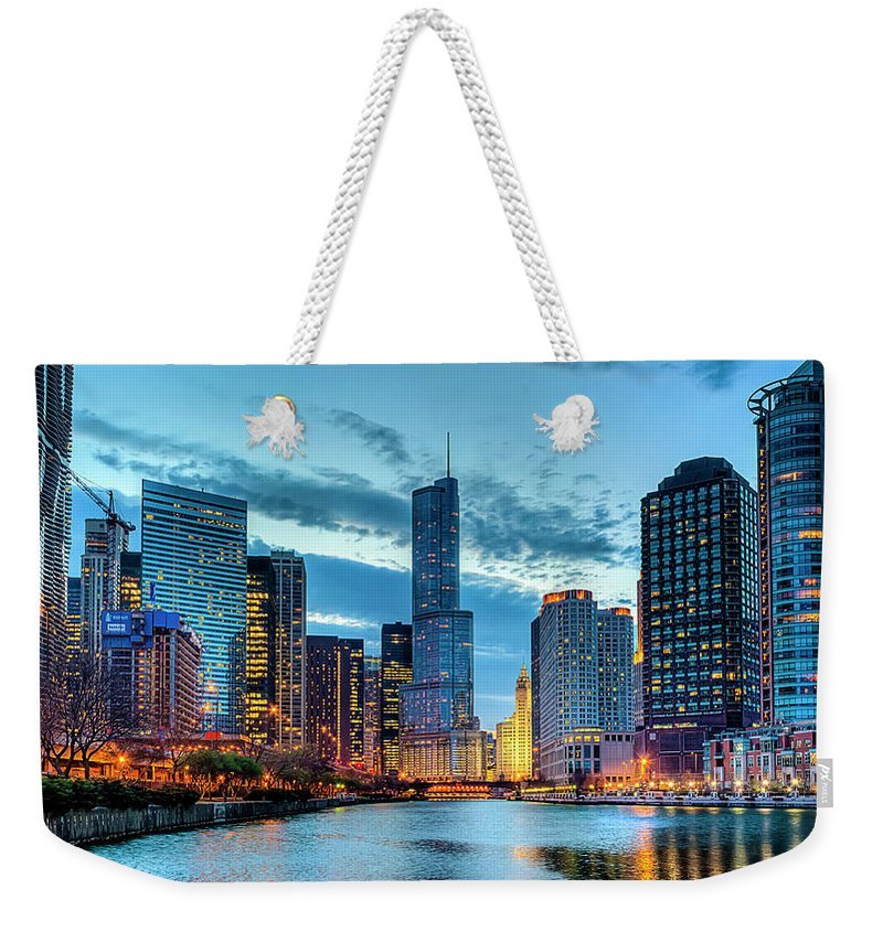 Tranquility Weekender Tote Bag featuring the photograph Chicago River by Carl Larson Photography