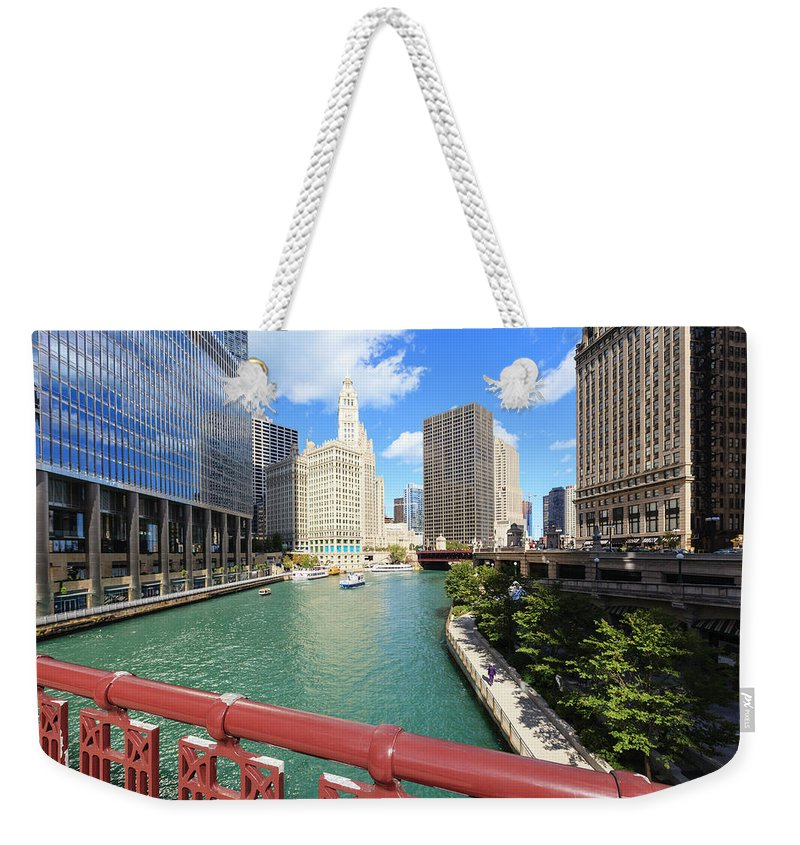 Chicago River Weekender Tote Bag featuring the photograph Chicago River, Chicago by Fraser Hall