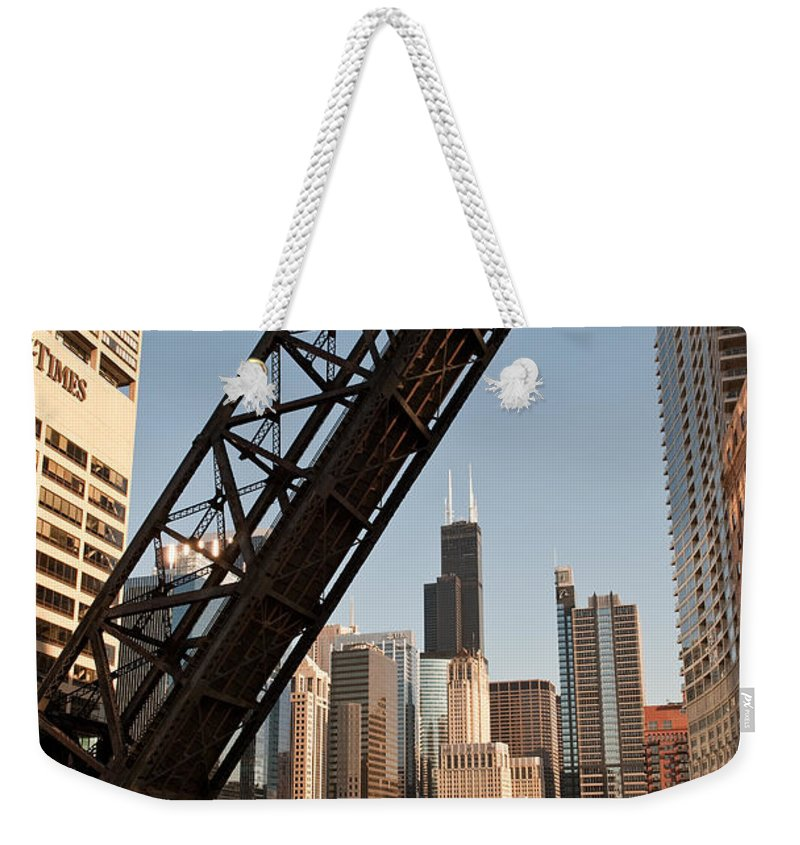 Chicago Weekender Tote Bag featuring the photograph Chicago River Traffic by Steve Gadomski