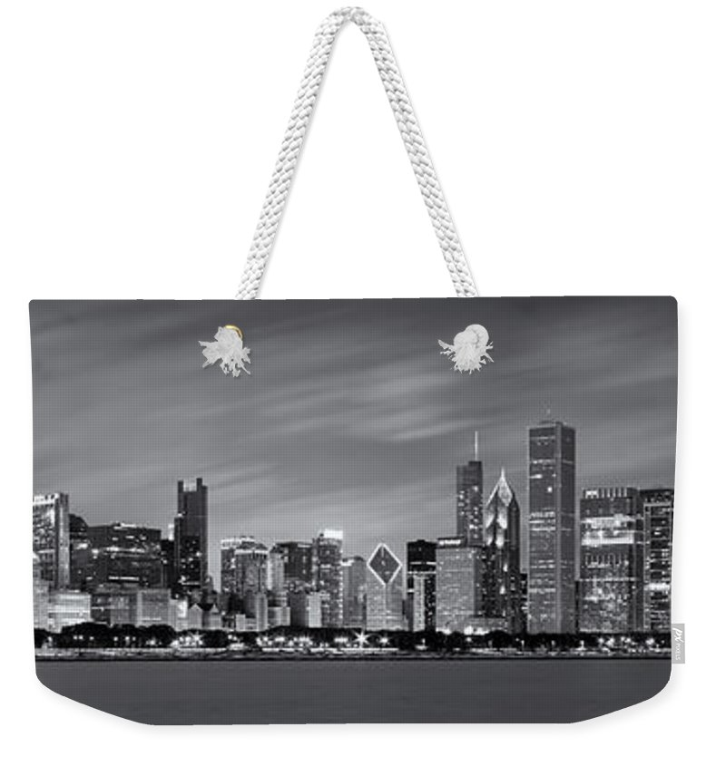 3scape Weekender Tote Bag featuring the photograph Chicago Skyline at Night Black and White Panoramic by Adam Romanowicz
