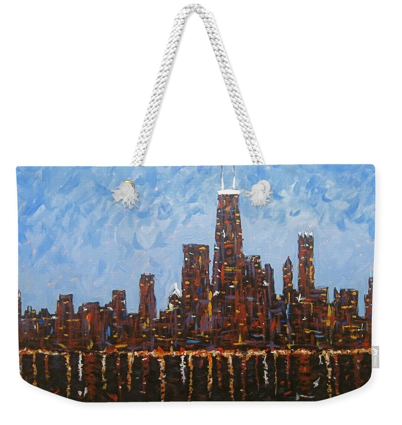 Chicago At Night Weekender Tote Bag featuring the painting Chicago Skyline At Night From North Avenue Pier by J Loren Reedy