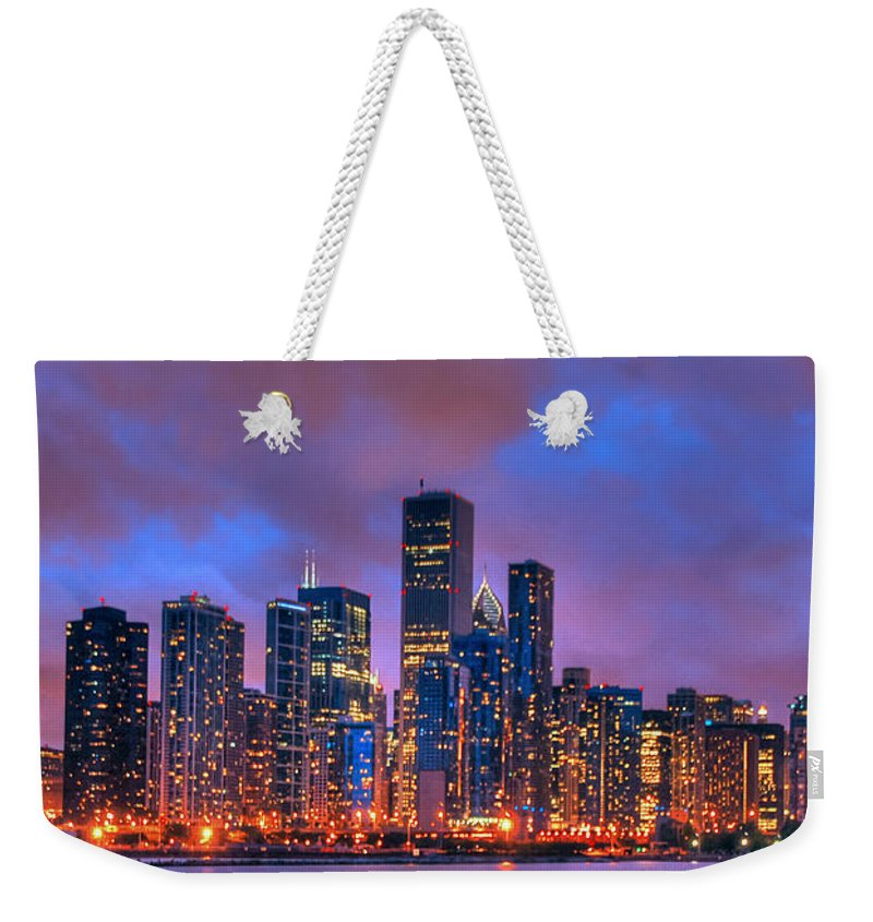 Chicago Skyline From Navy Pier Weekender Tote Bag featuring the photograph Chicago Skyline From Navy Pier View 2 by Ken Smith