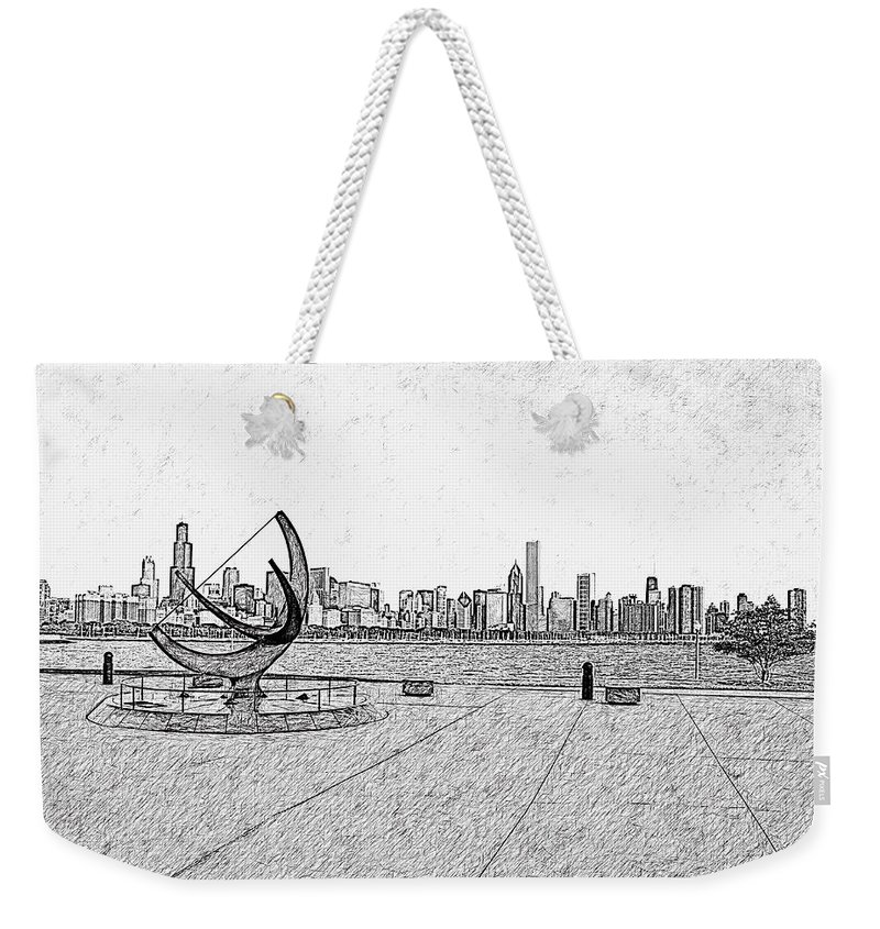 Chicago Weekender Tote Bag featuring the photograph Chicago Skyline Hard Ink by David Lange