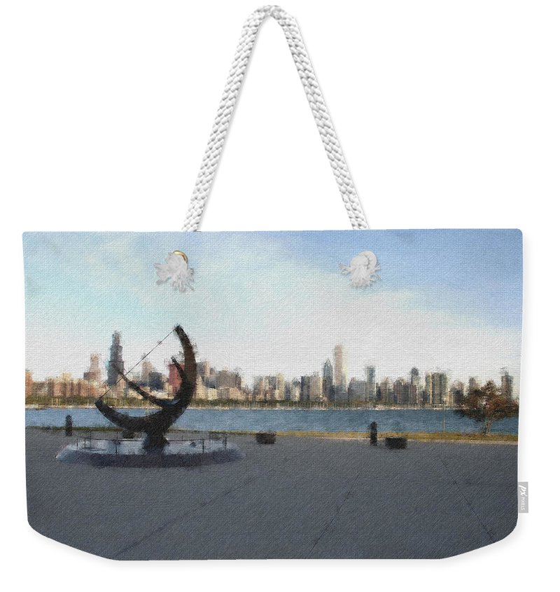 Chicago Weekender Tote Bag featuring the photograph Chicago Skyline Pastel Chalk 2 by David Lange