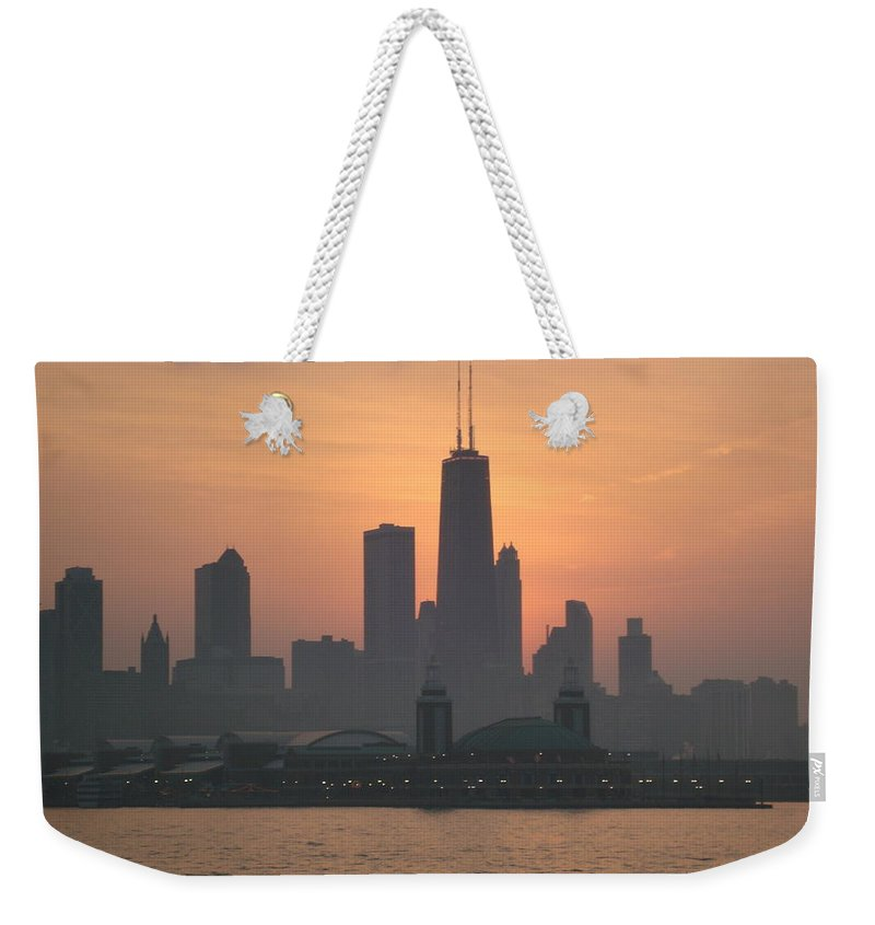 Chicago Weekender Tote Bag featuring the photograph Chicago Sunset by K Conway
