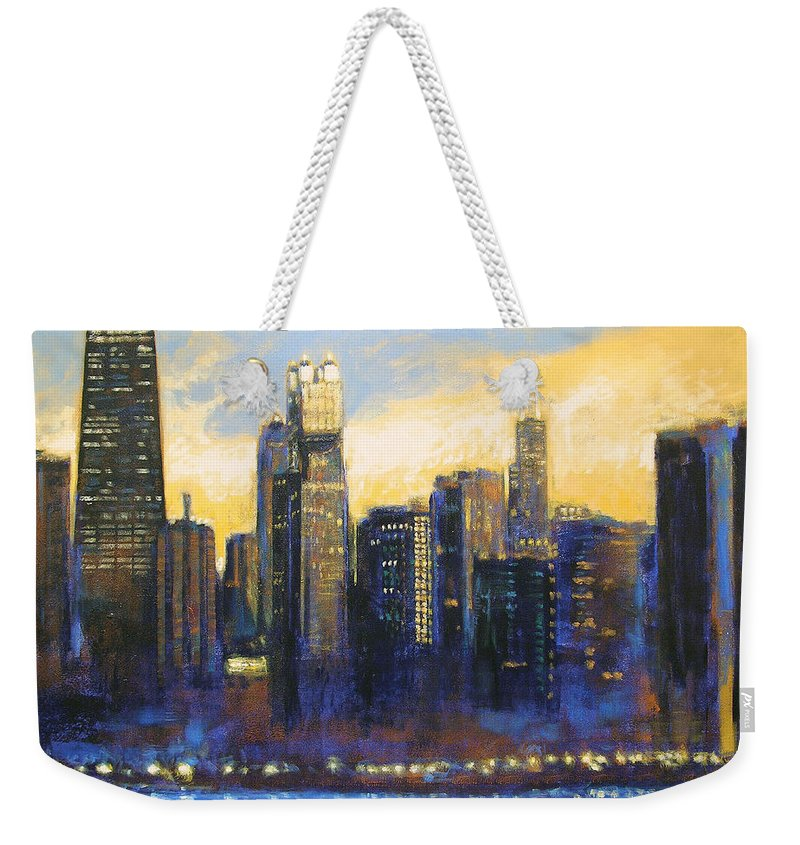 Chicago Skyline Weekender Tote Bag featuring the painting Chicago Sunset Looking South by Joseph Catanzaro