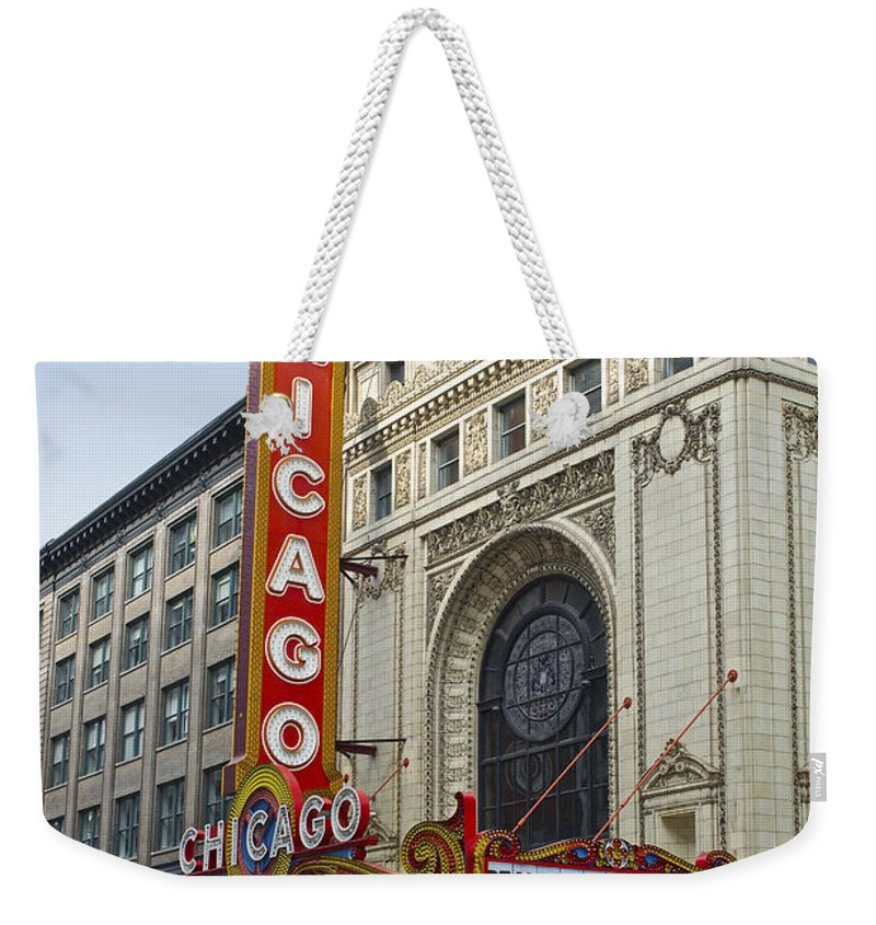 Chicago Weekender Tote Bag featuring the photograph Chicago Theater Facade Southside by Thomas Woolworth