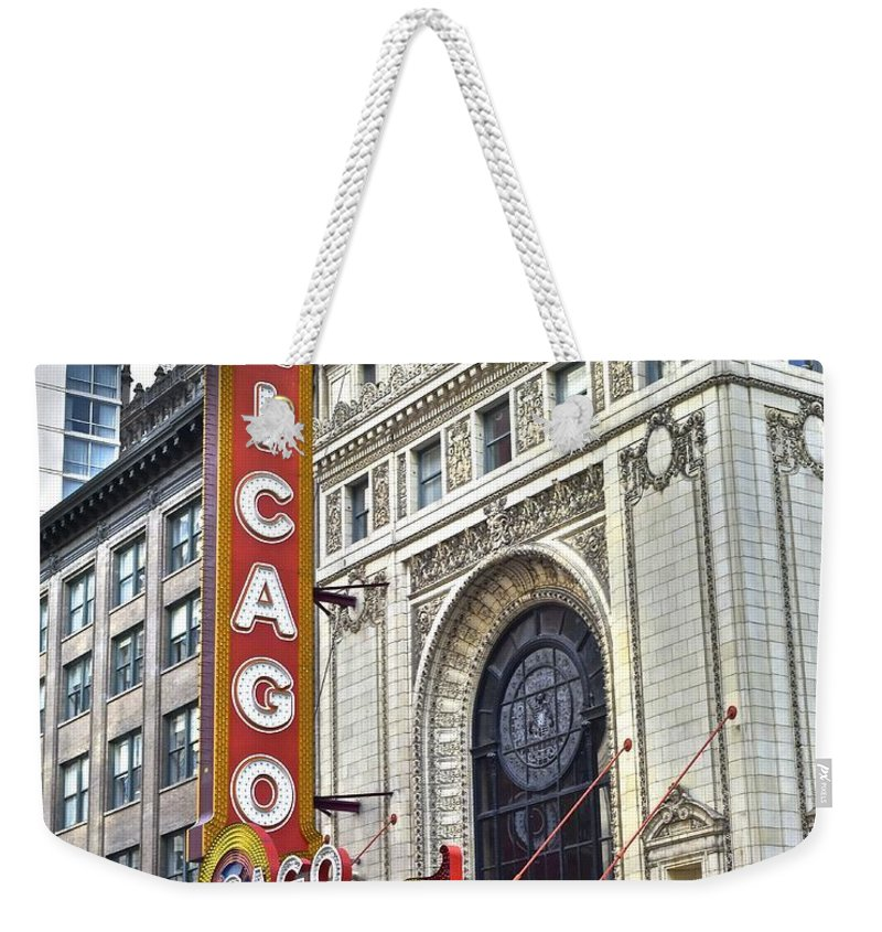 Chicago Weekender Tote Bag featuring the photograph Chicago Theater by Frozen in Time Fine Art Photography