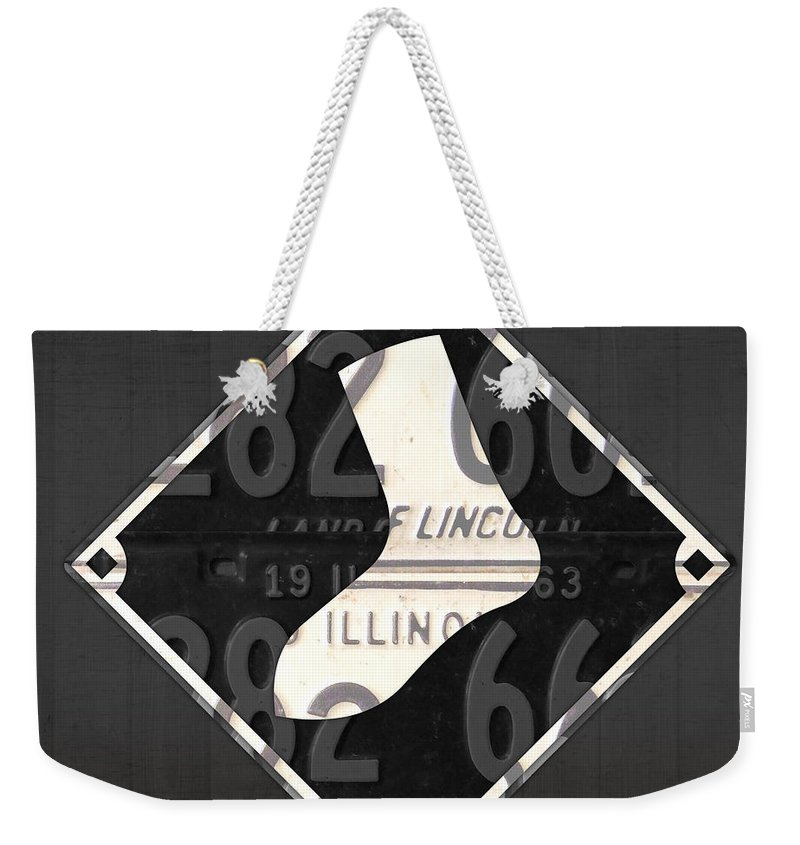 Chicago Weekender Tote Bag featuring the mixed media Chicago White Sox Baseball Vintage Logo License Plate Art by Design Turnpike