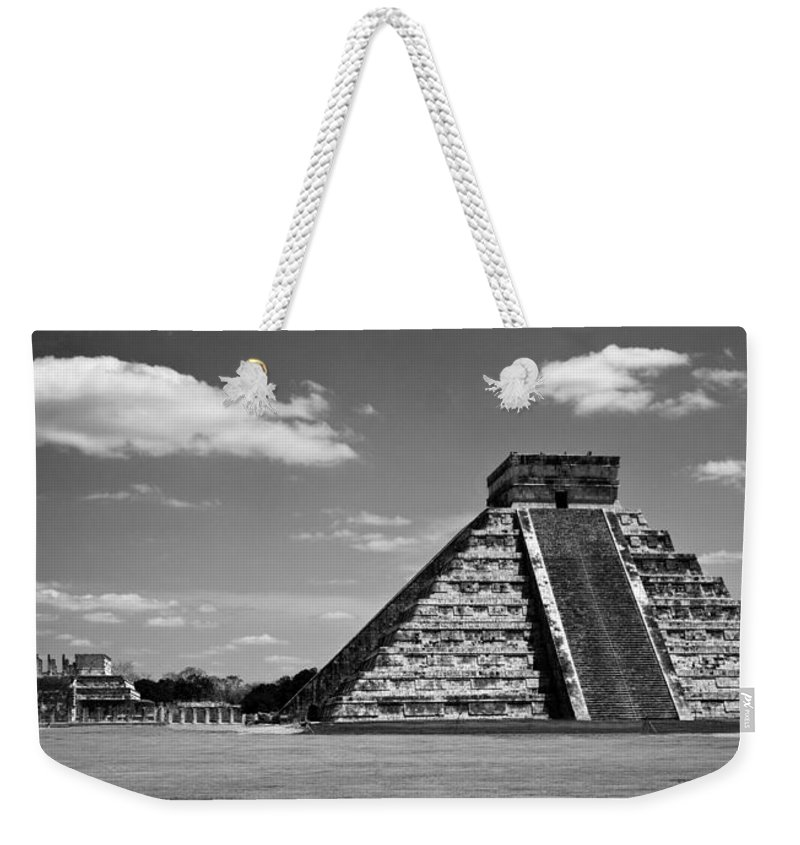 Chichen Itza Weekender Tote Bag featuring the photograph Chichen Itza Blk Wht by Chris Brannen