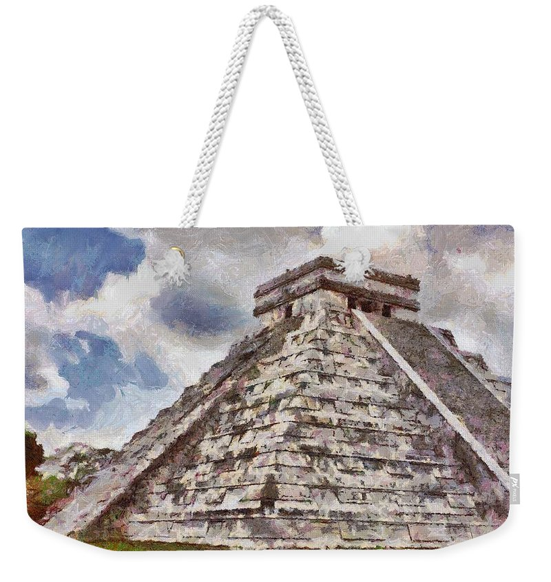 Yucatan Weekender Tote Bag featuring the painting Chichen Itza by Jeffrey Kolker