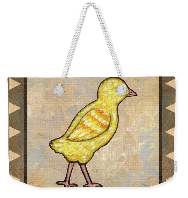 Chick Weekender Tote Bag featuring the painting Chick One by Linda Mears
