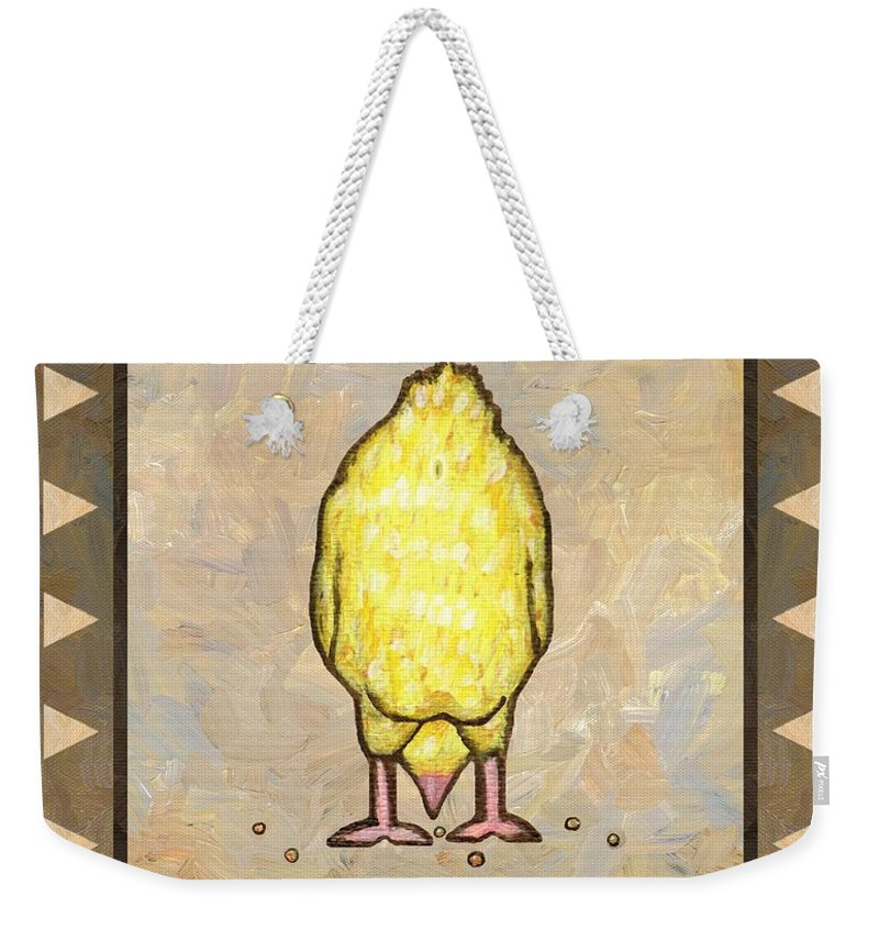 Chick Weekender Tote Bag featuring the painting Chick Six by Linda Mears