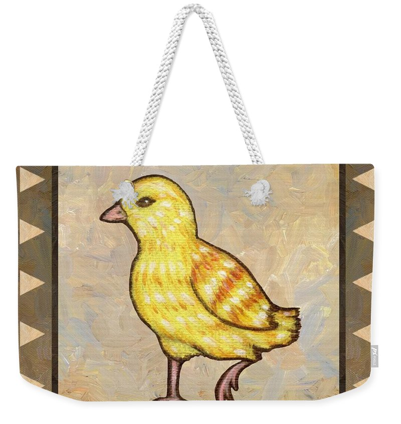 Chick Weekender Tote Bag featuring the painting Chick Two by Linda Mears