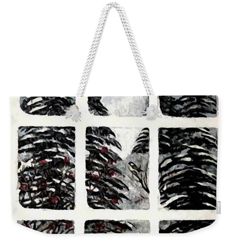 Chickadees And Dogberries Abstraction Weekender Tote Bag featuring the photograph Chickadees And Dogberries Abstraction by Barbara Griffin