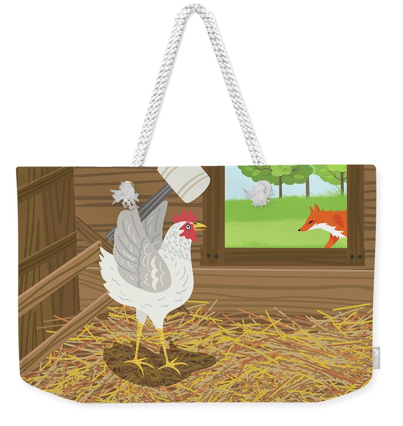 Hiding Weekender Tote Bag featuring the digital art Chicken With A Mallet Waits For A Fox by Diane Labombarbe