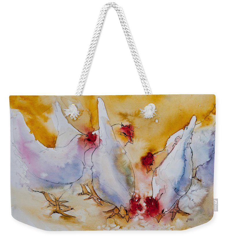 Chickens Weekender Tote Bag featuring the painting Chickens Feed by Jani Freimann