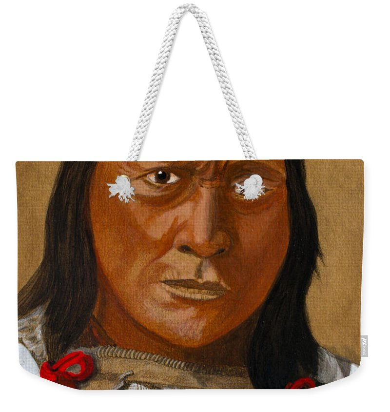 Brule Weekender Tote Bag featuring the painting Chief Hollow Horn Bear by Mike Robles