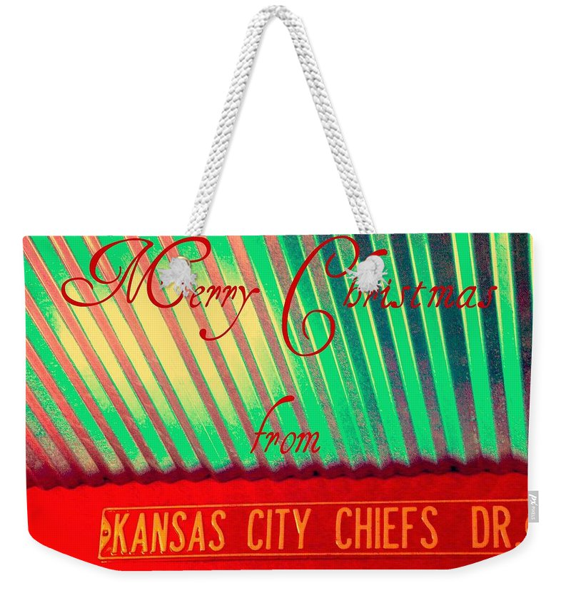 Christmas Weekender Tote Bag featuring the photograph Chiefs Christmas by Chris Berry