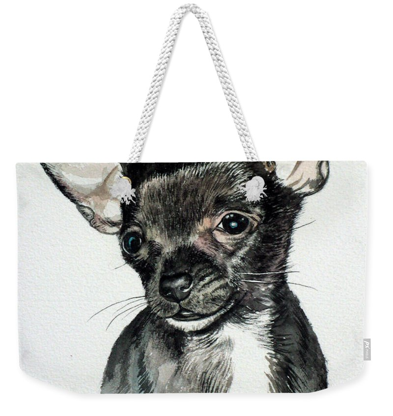 Dog Weekender Tote Bag featuring the painting Chihuahua Black 2 by Christopher Shellhammer