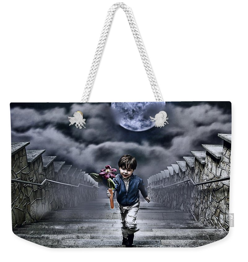 Boy Weekender Tote Bag featuring the photograph Child Of The Moon by Joachim G Pinkawa