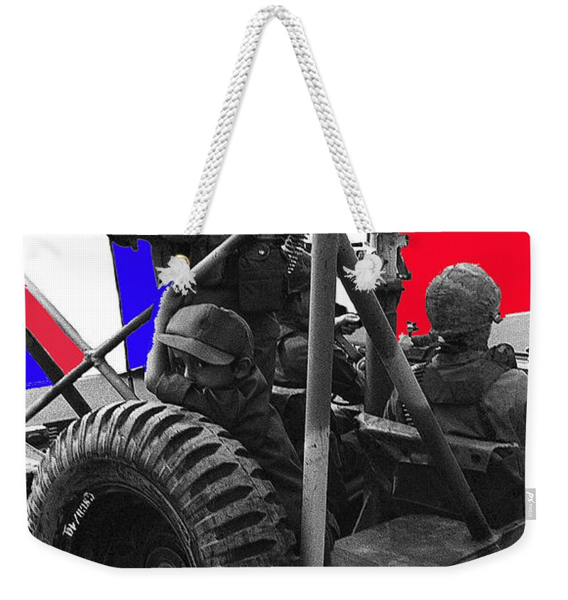 Child Soldier 100th Anniversary Parade Nogales Arizona 1980 Color Added Weekender Tote Bag featuring the photograph child soldier 100th anniversary parade nogales Arizona 1980-2012 by David Lee Guss