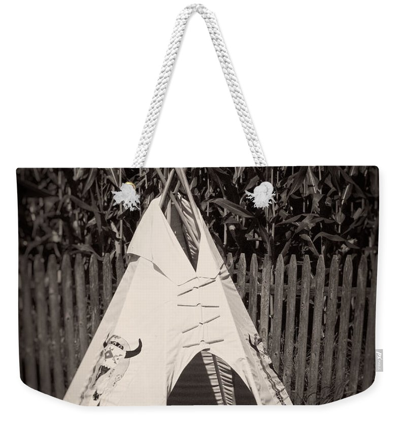 Backyard Weekender Tote Bag featuring the photograph Childs Vintage Play Tipi by Edward Fielding