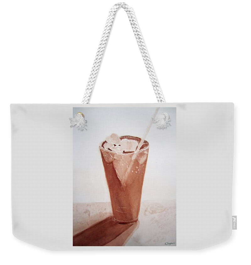 Cold Drink With Ice In Glass Weekender Tote Bag featuring the painting Chilling Out by Elvira Ingram