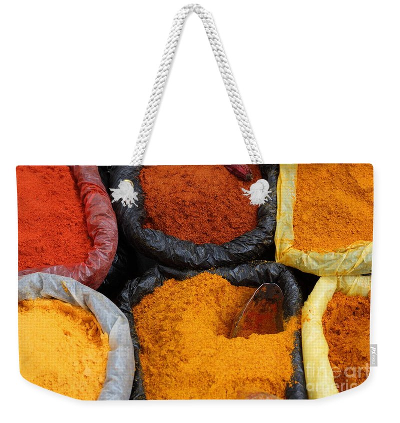 Chili Weekender Tote Bag featuring the photograph Chilli Powders 2 by James Brunker