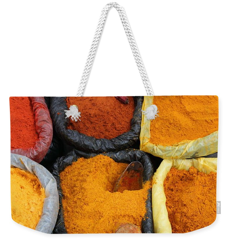 Markets Weekender Tote Bag featuring the photograph Chilli Powders 3 by James Brunker