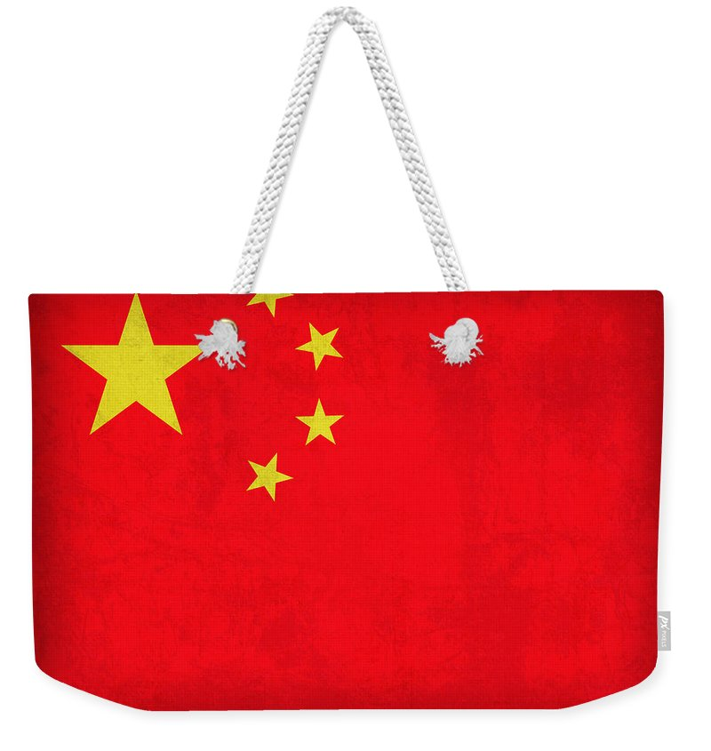 China Flag Vintage Distressed Finish Weekender Tote Bag featuring the mixed media China Flag Vintage Distressed Finish by Design Turnpike