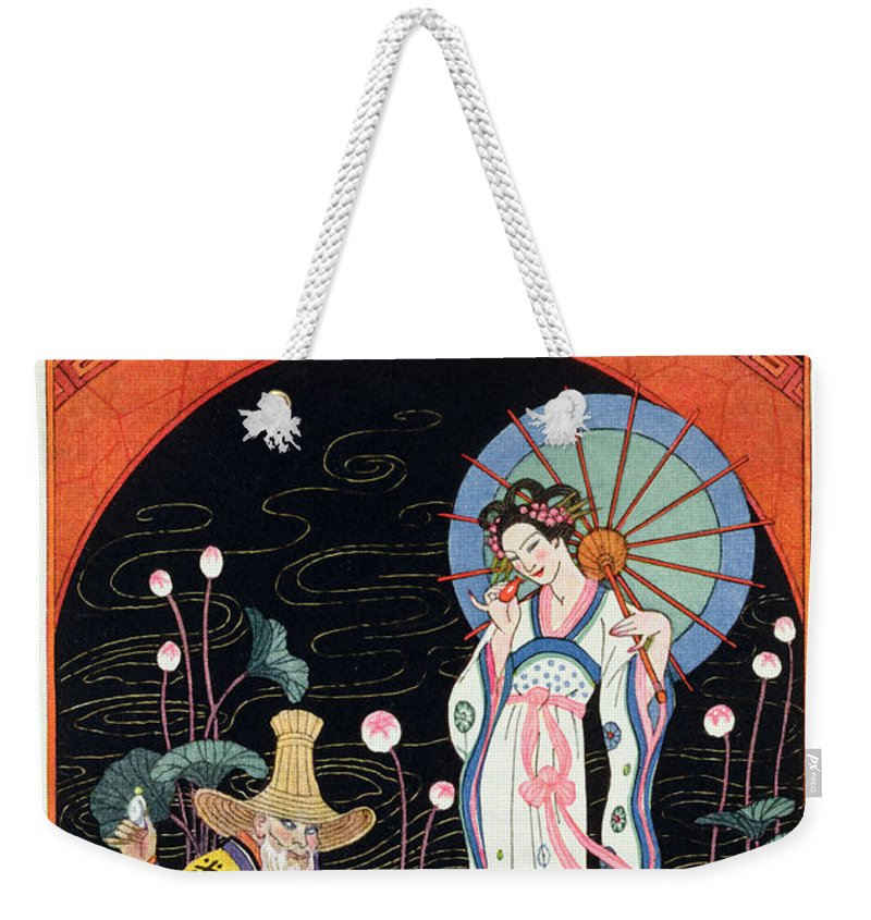 Stencil Weekender Tote Bag featuring the painting China by Georges Barbier