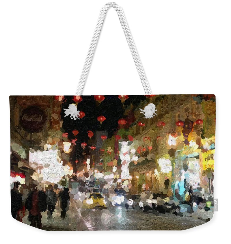 san Francisco Weekender Tote Bag featuring the painting China Town At Night by Linda Woods