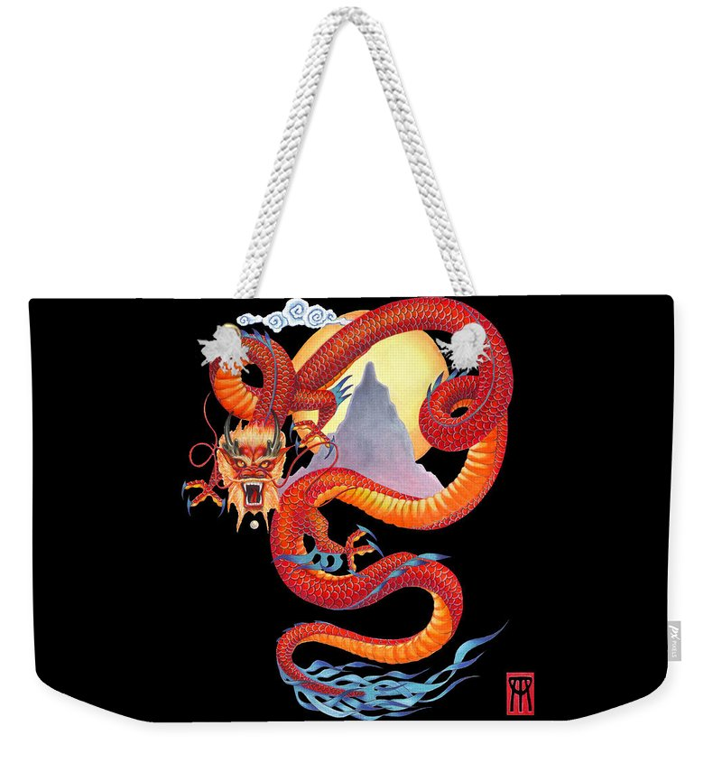 Dragon Weekender Tote Bag featuring the painting Chinese Dragon on Black by Melissa A Benson