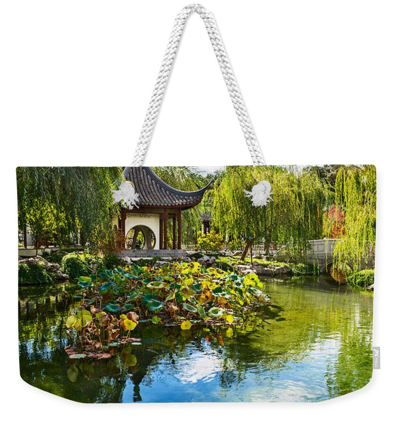 Chinese Garden Weekender Tote Bag featuring the photograph Chinese Garden Lake by Jamie Pham
