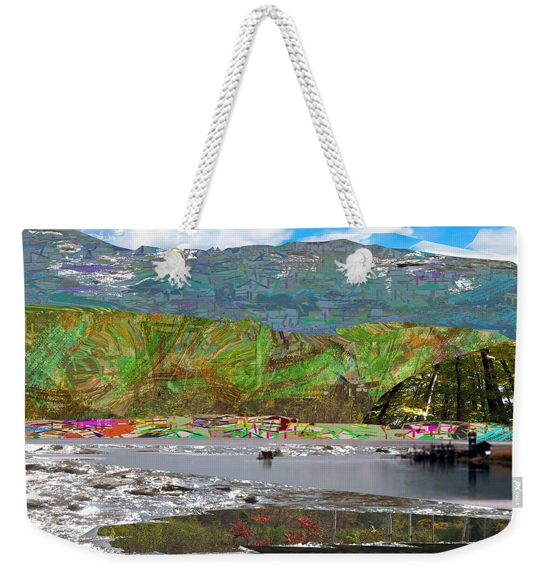 Chinese Weekender Tote Bag featuring the mixed media Chinese Landscape Abstract Graphic River Snow Peak Mountain Picnic Spot Skiing Raft Boat by Navin Joshi