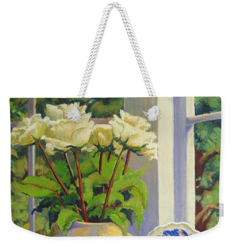 Impressionism Weekender Tote Bag featuring the painting Chinese Melon Jar by Keith Burgess