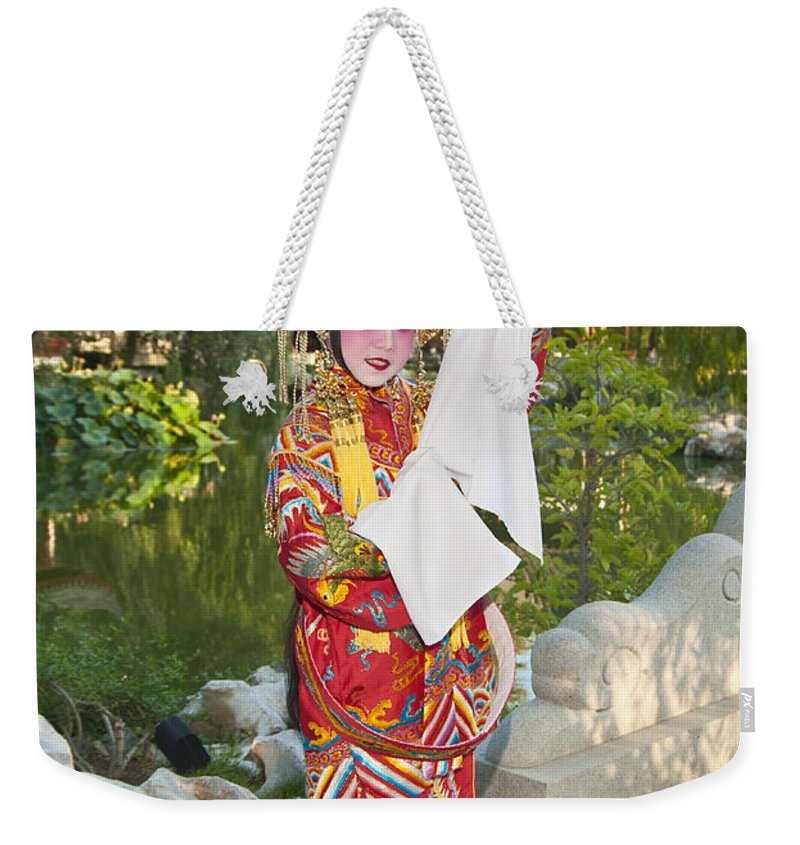 Chinese Opera Weekender Tote Bag featuring the photograph Chinese Opera Girl - In Full Traditional Chinese Opera Costumes. by Jamie Pham