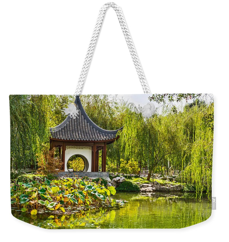 Chinese Garden Weekender Tote Bag featuring the photograph Chinese Pagoda by Jamie Pham