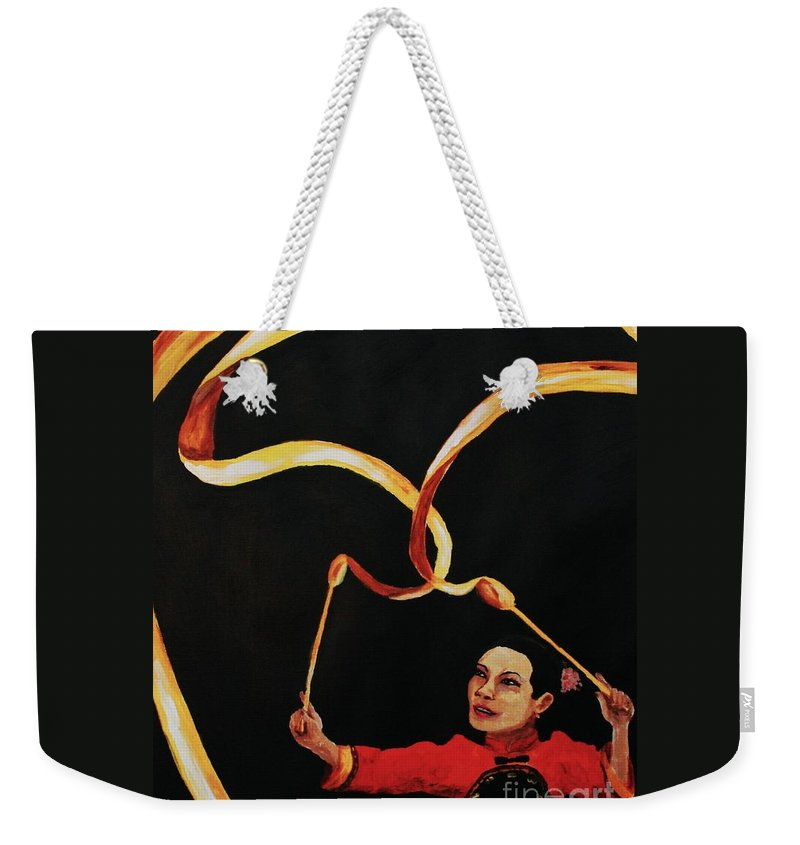 Chinese Weekender Tote Bag featuring the painting Chinese Ribbon Dancer Yellow Ribbon by Cris Motta