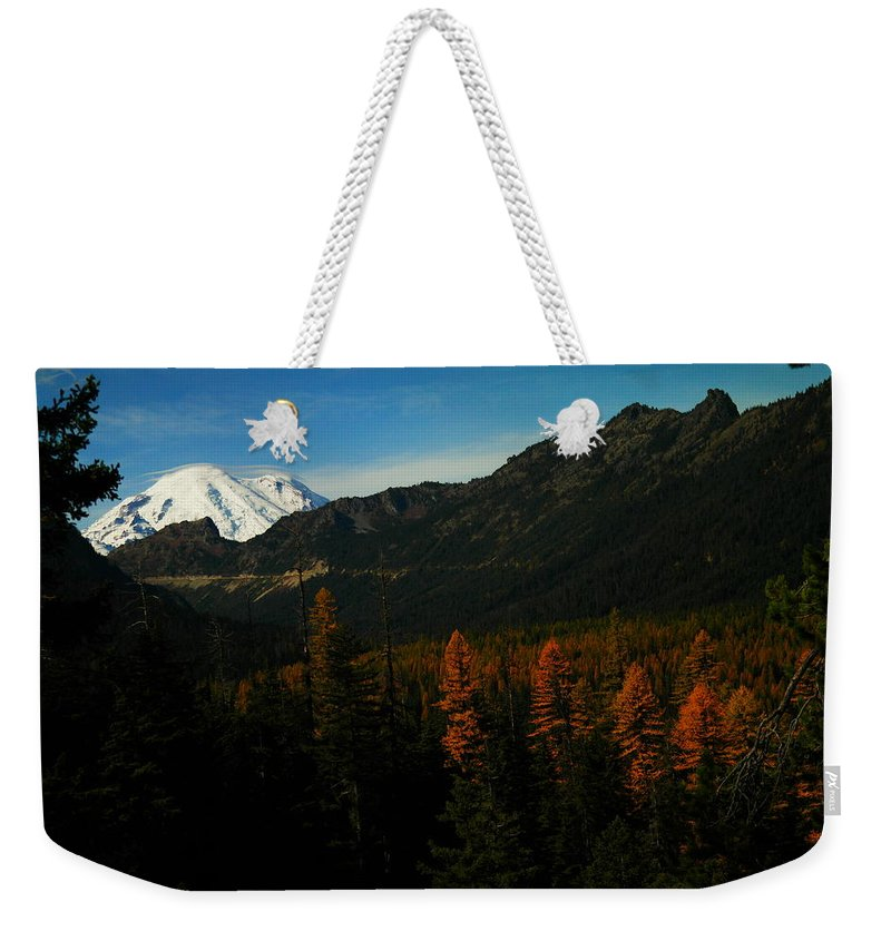 Mountains Weekender Tote Bag featuring the photograph Chinnock Pass From Masatchee Falls by Jeff Swan