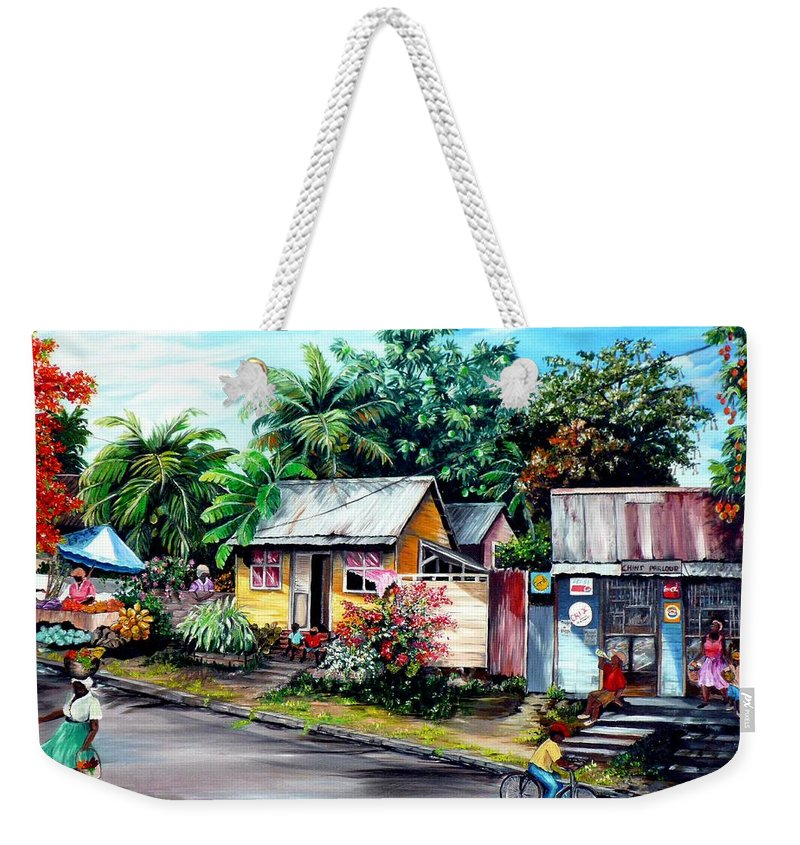 Landscape Painting Caribbean Painting Shop Trinidad Tobago Poinciana Painting Market Caribbean Market Painting Tropical Painting Weekender Tote Bag featuring the painting Chins Parlour   by Karin Dawn Kelshall- Best