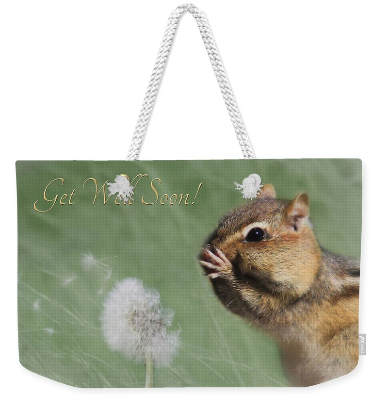 Chippy Weekender Tote Bag featuring the photograph Chippy Get Well Soon by Lori Deiter