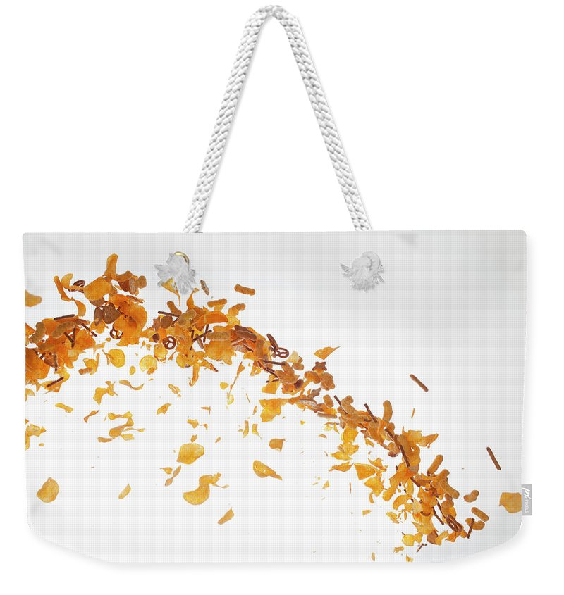 Curve Weekender Tote Bag featuring the photograph Chips, Pretzels And Savory Snacks by Dual Dual