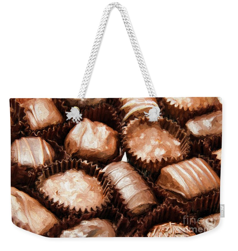 Andee Design Food Weekender Tote Bag featuring the photograph Chocolate Makes The World Go Around by Andee Design
