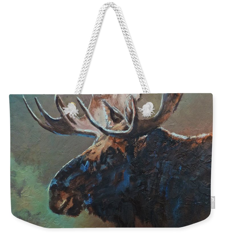 Moose Weekender Tote Bag featuring the painting Chocolate by Mia DeLode